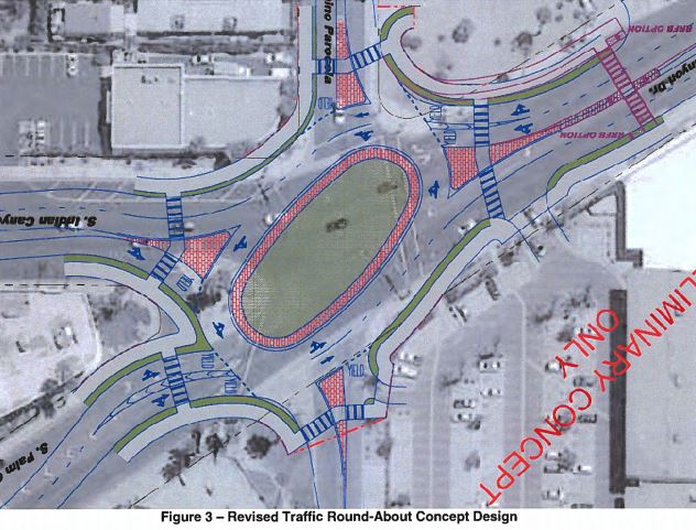 Round-about conceptual design present on June 2018 (Courtesy of City of Palm Springs)