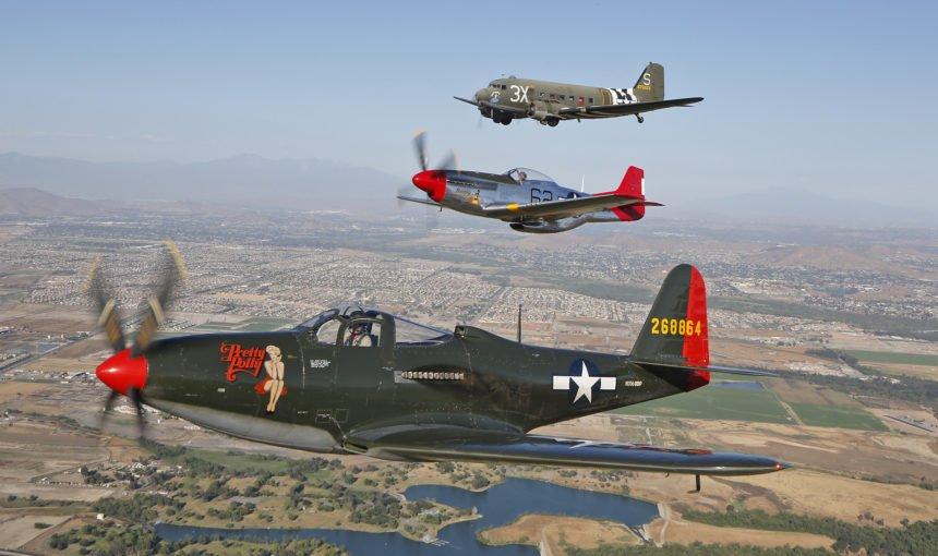 P-63, P-51 & C-47 in sky PS Air Museum