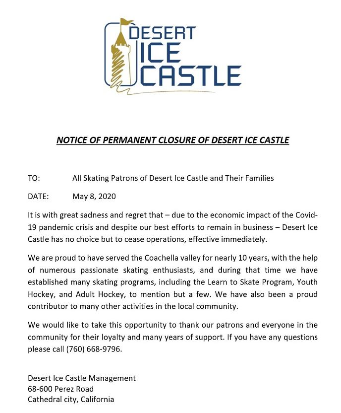 Desert Ice Castle Closing Permanently