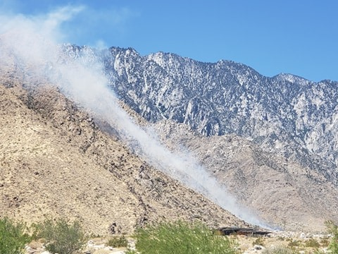 Fire near Tramway Road in Palm Springs