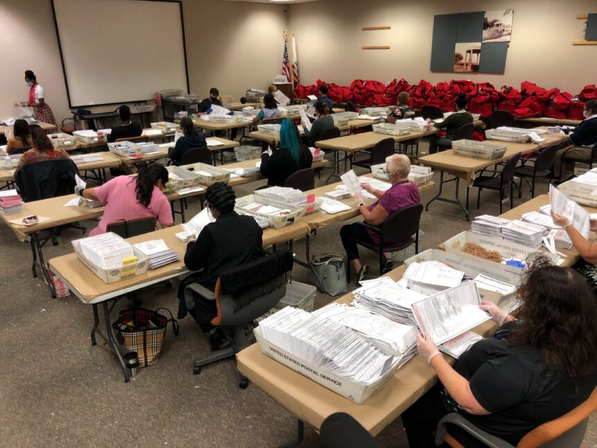 11-04-2020 Ballots being opened after election at Riverside County Registrar