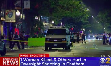 Police are looking for two gunmen in a shooting in Chicago early Saturday that sent 10 people to the hospital