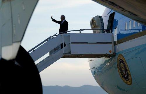 President Joe Biden boards Air Force One at Geneva Airport in Geneva
