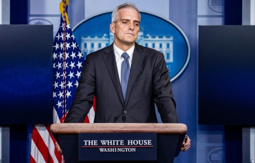 Secretary of Veterans Affairs Denis McDonough speaks at a press briefing in the Brady Press Briefing Room at the White House on March 4