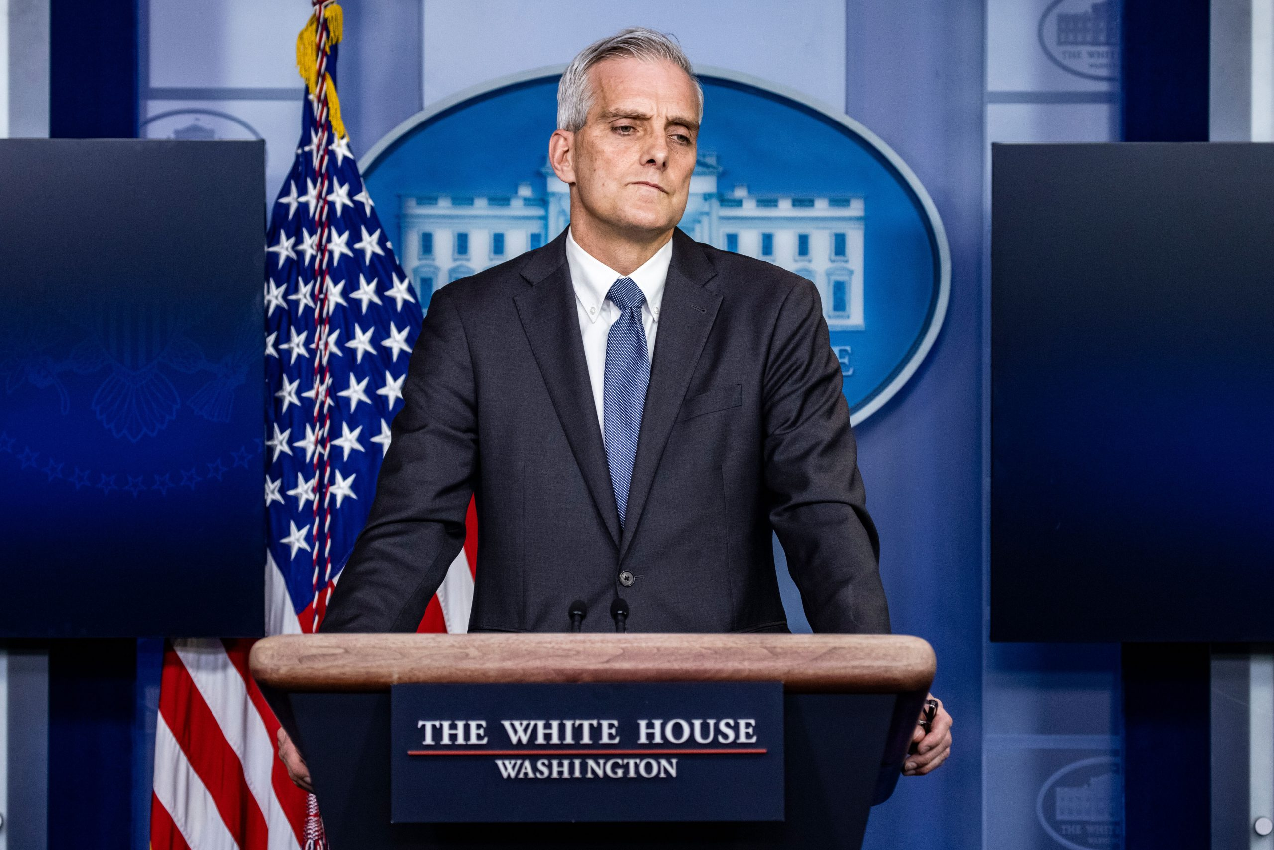 <i>Samuel Corum/Getty Images</i><br/>Secretary of Veterans Affairs Denis McDonough speaks at a press briefing in the Brady Press Briefing Room at the White House on March 4