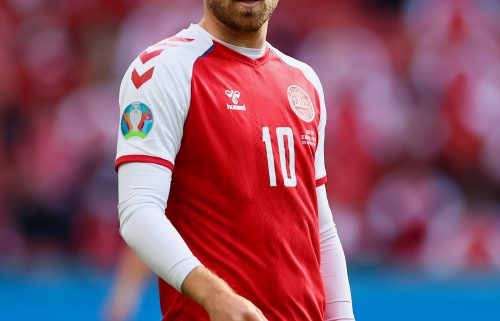 Christian Eriksen is pictured during a match between Denmark and Finland on June 12