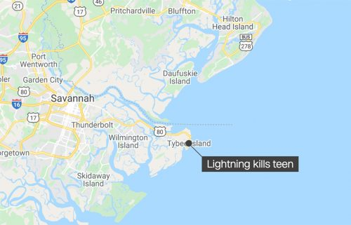 A 15-year-old girl died June 12 after she was struck by lightning while swimming off the coast of Georgia
