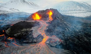 Lava flows from a volcanic eruption on the Reykjanes Peninsula on March 28. The eruption started March 19.
