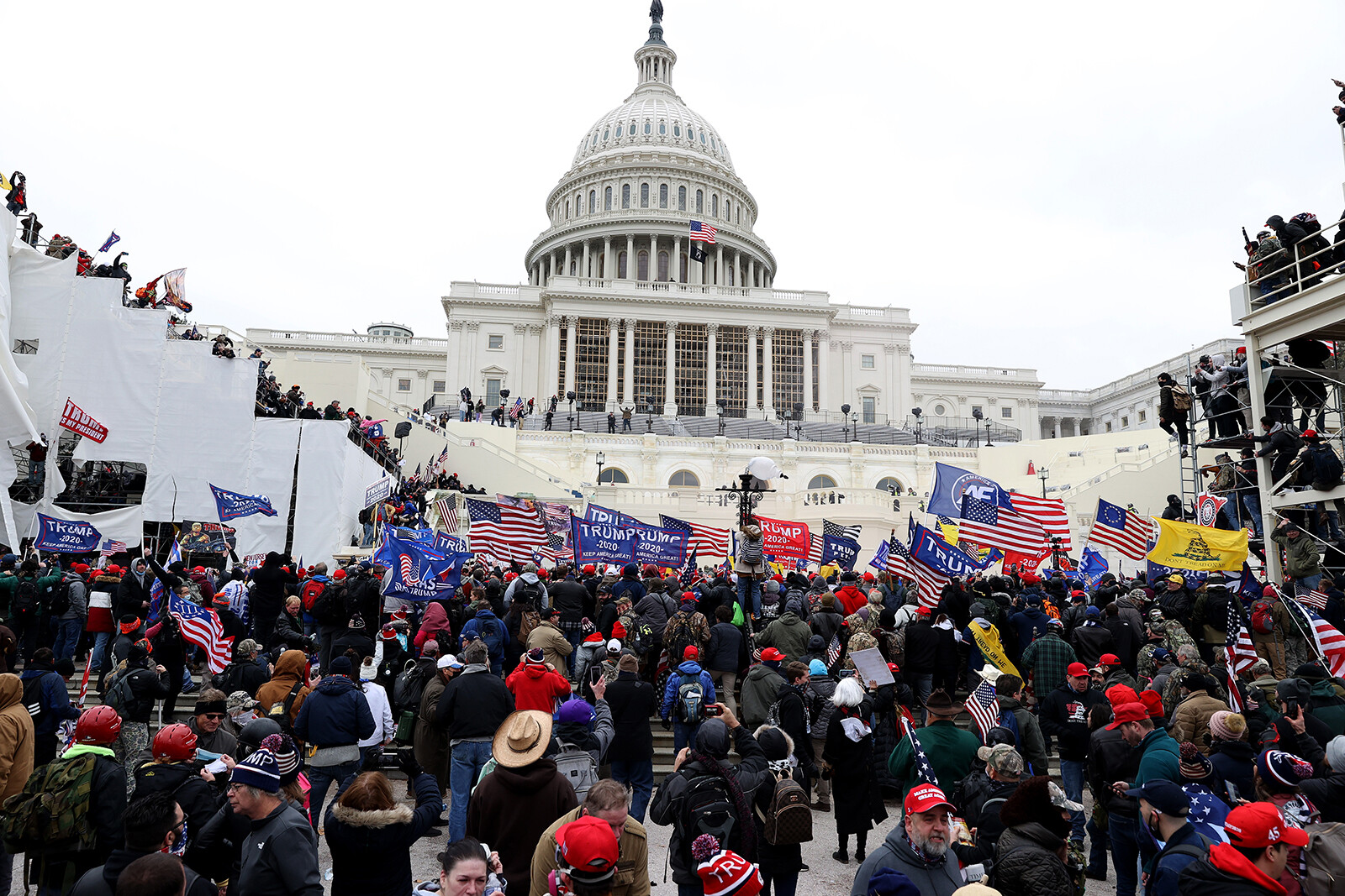 <i>Tasos Katopodis/Getty Images</i><br/>Protesters gather outside the U.S. Capitol Building on January 6