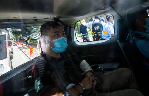 Tong Ying-Kit arriving in court on July 6