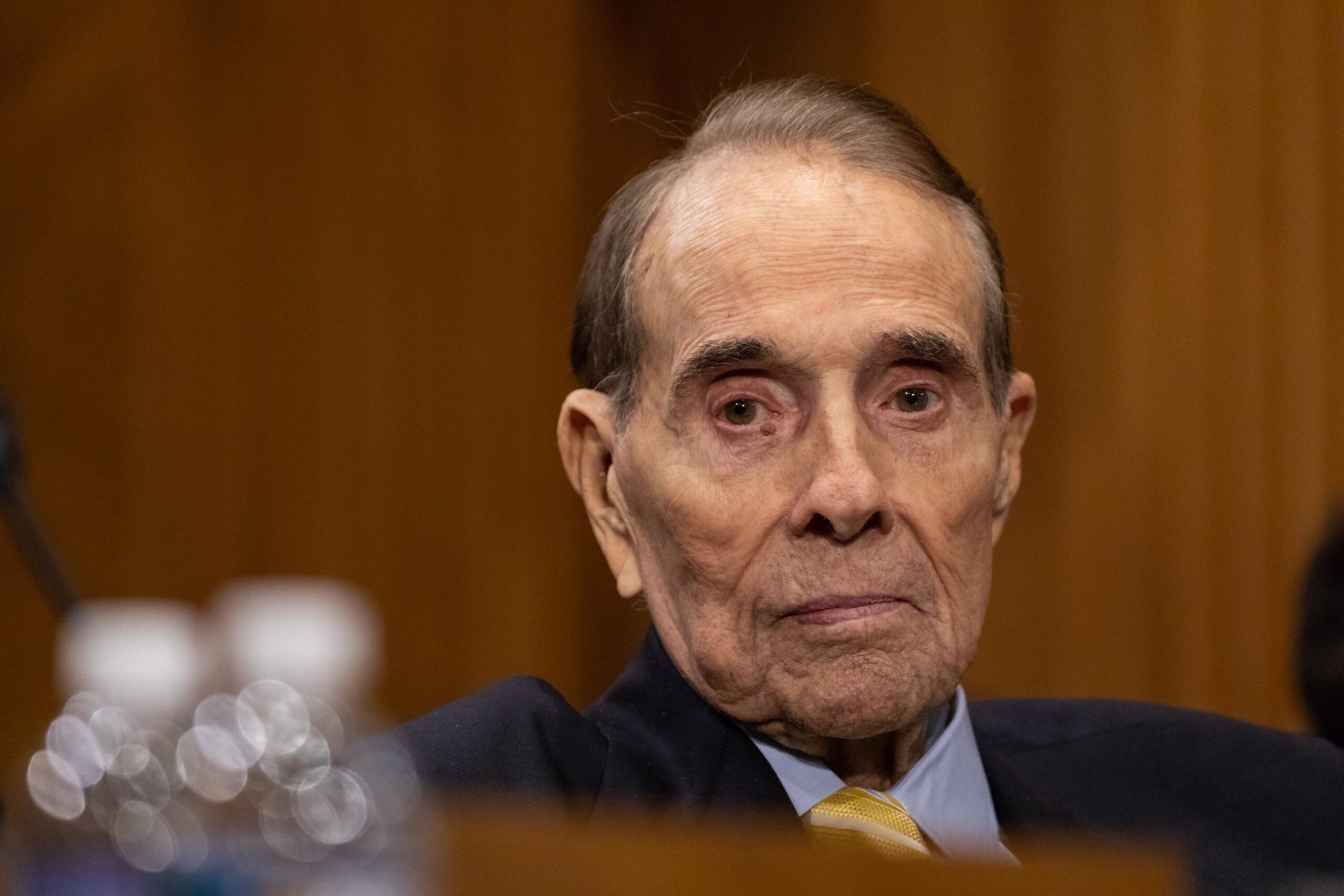 <i>Cheriss May/NurPhoto/Getty Images</i><br/>Bob Dole appears at a Senate Foreign Relations Committee confirmation hearing on Capitol Hill in Washington on Thursday