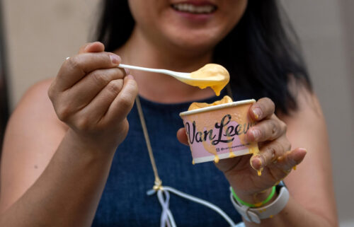 A woman enjoys the new flavor near Union Square in New York City on July 14.
