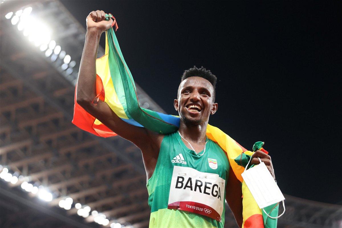 <i>Michael Steele/Getty Images AsiaPac/Getty Images</i><br/>Selemon Barega celebrates 10