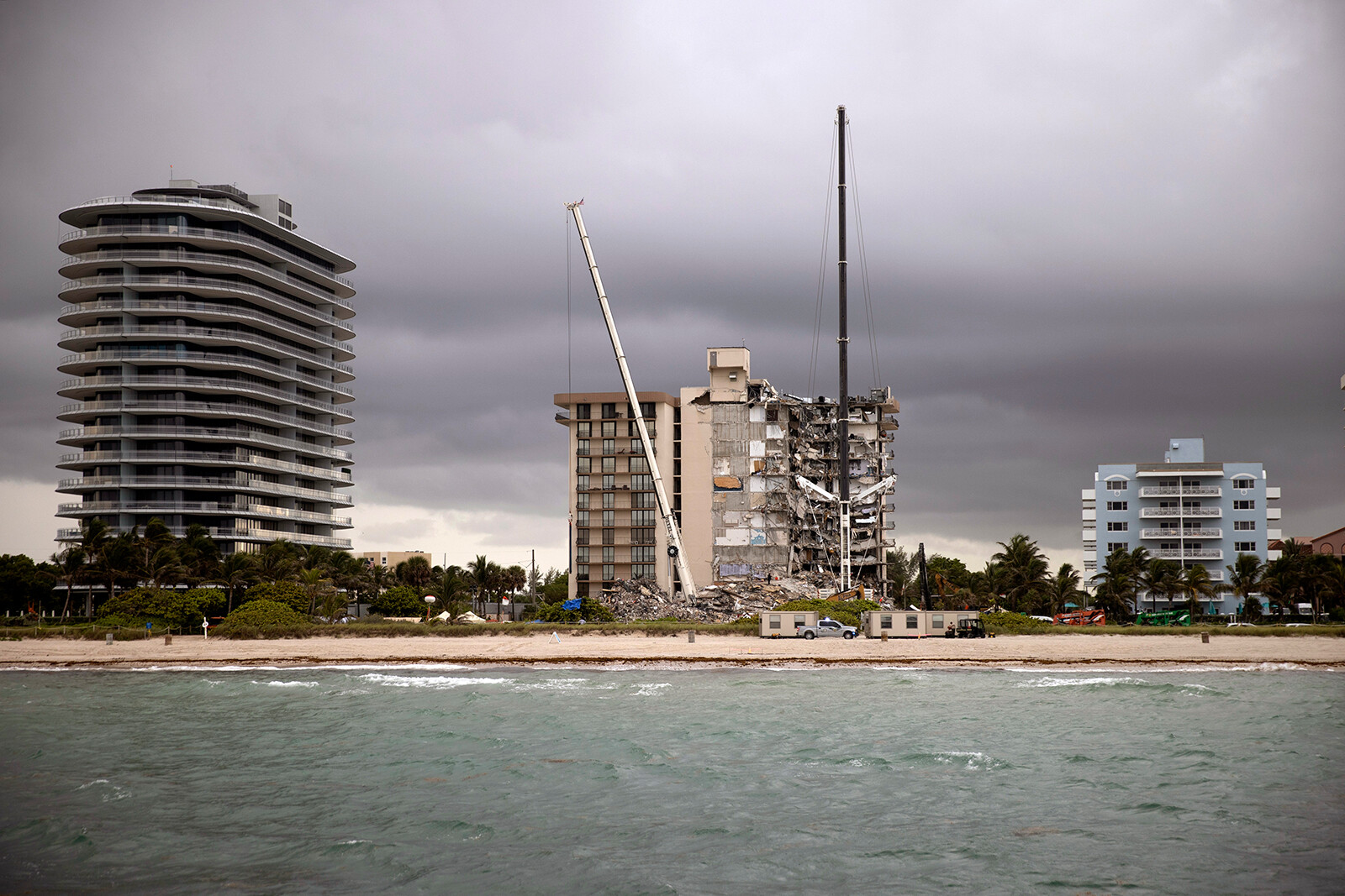<i>Joe Raedle/Getty Images</i><br/>The scene of the collapse site is pictured in Surfside on June 28.