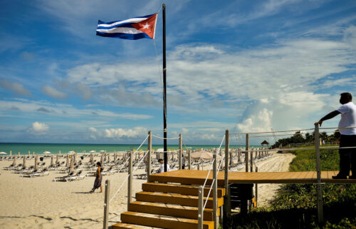 The Cuban flag at the Melia Varadero International Hotel in Matanzas Province