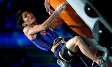 Olympic sport climber Tomoa Narasaki of Japan competes in the 2019 Climbing World Championships.