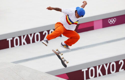 Margielyn Didal of Team Philippines competes in the women's street skateboarding final in Tokyo.