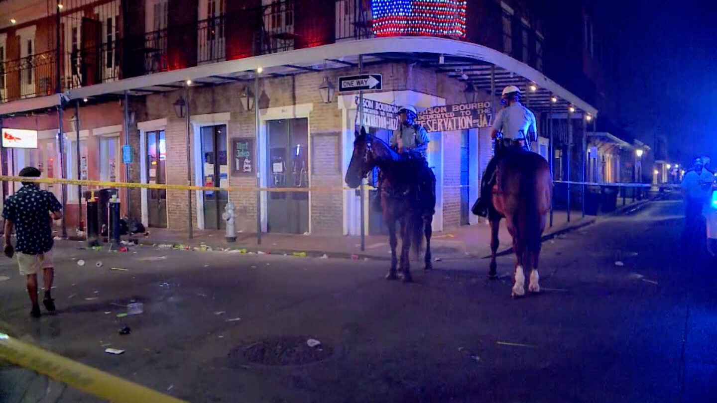 <i>WDSU</i><br/>Five people were wounded in a shooting near Bourbon Street in New Orleans on August 1.