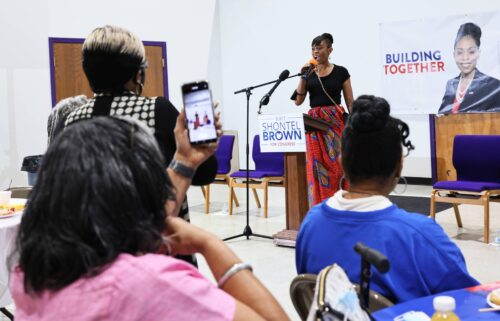 Cuyahoga County Council Representative and Ohio 11th District congressional candidate Shontel Brown speaks during Get Out the Vote campaign event at Mt. Zion Fellowship on July 31
