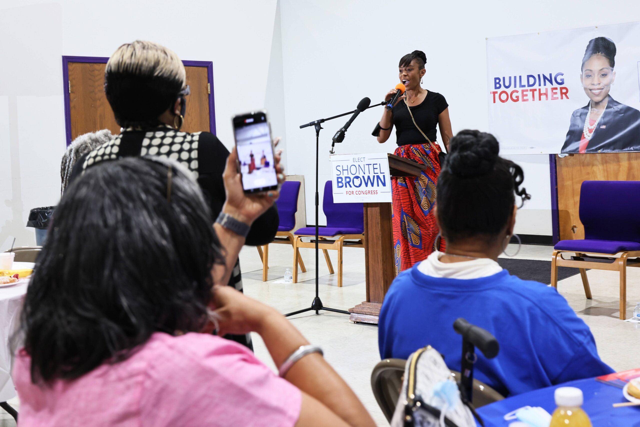 <i>Michael M. Santiago/Getty Images</i><br/>Cuyahoga County Council Representative and Ohio 11th District congressional candidate Shontel Brown speaks during Get Out the Vote campaign event at Mt. Zion Fellowship on July 31