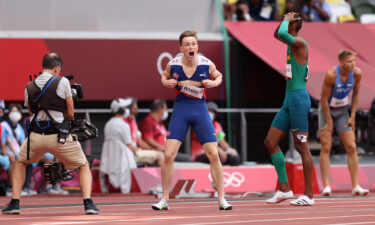 Warholm reacts to his 400m hurdles victory.