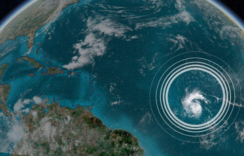 Tropical Storm Sam is seen here from a satellite.