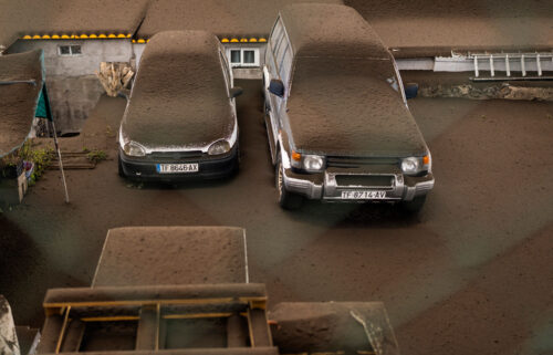 Vehicles are covered by ash from the volcanic eruption on La Palma.