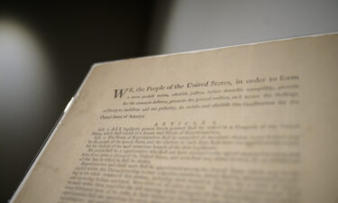 A page of the first printing of the United States Constitution is displayed at the offices of Sotheby's auction house in New York on September 17. The document will be put for auction by Sotheby's New York