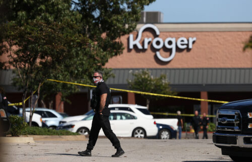 Emergency personnel respond to a shooting at a Kroger supermarket in suburban Memphis
