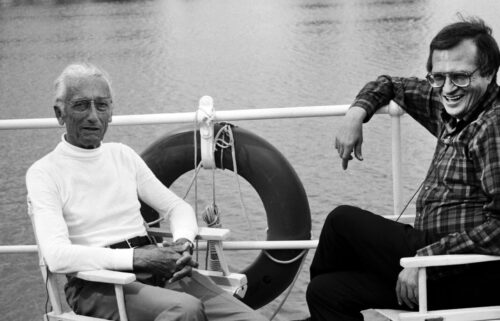 """""""Becoming Cousteau"""" is a documentary devoted to both the life of Jacques Cousteau and his early environmental advocacy. CNN's Larry King (R) is shown here interviewing Cousteau (L) for Larry King Live."""