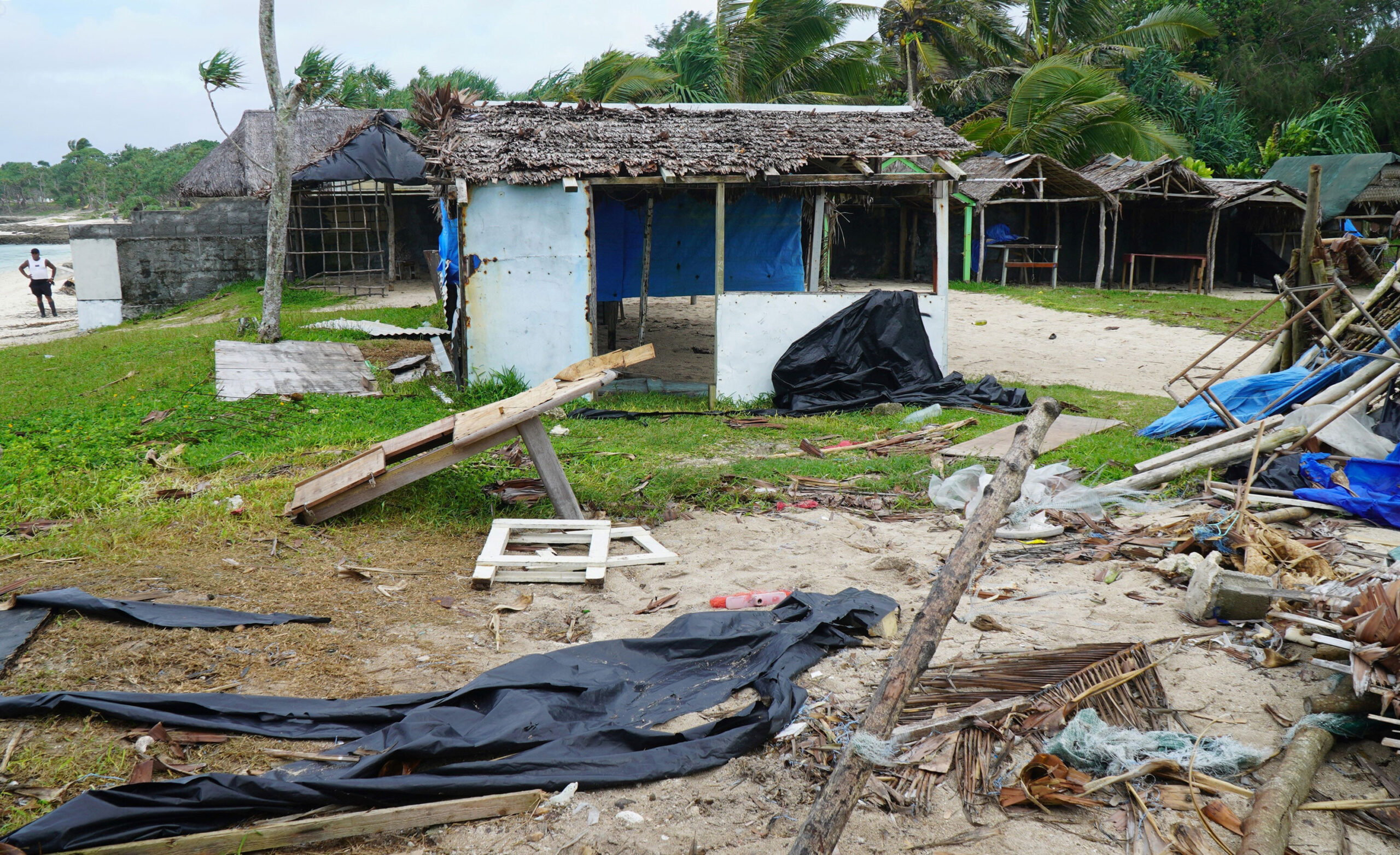 <i>Philippe Carillo/AFP/Getty Images</i><br/>Badly damaged buildings are pictured near Vanuatu's capital of Port Vila on April 7