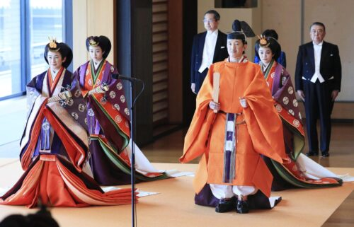 """Members of the royal family head to Emperor Naruhito's enthronement ceremony at the """"Matsu no Ma"""" state room of the Imperial Palace in Tokyo on Oct. 22"""