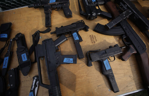 """Prop guns are used to make movie scenes look realistic. Gun props are shown here on a table backstage during rehearsal for the play """"Coriolanus."""""""