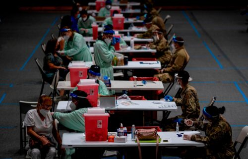 Senior citizens receive Covid-19 vaccines at a National Guard vaccination center in San Juan on February 8.