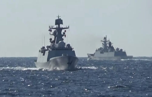 A group of naval vessels from Russia and China conduct a joint maritime military patrol in the waters of the Pacific Ocean
